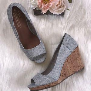 🆕 Toms Stella Wedge Drizzle Grey Lurex Woven Shoe